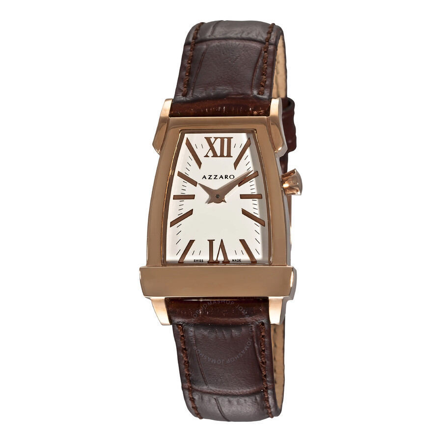 Azzaro A White Dial Rose Gold Tone Brown Leather Ladies Watch AZ2146.52AH.000
