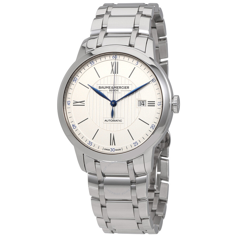 baume et mercier male baume et mercier classima automatic silver dial mens watch moa10334