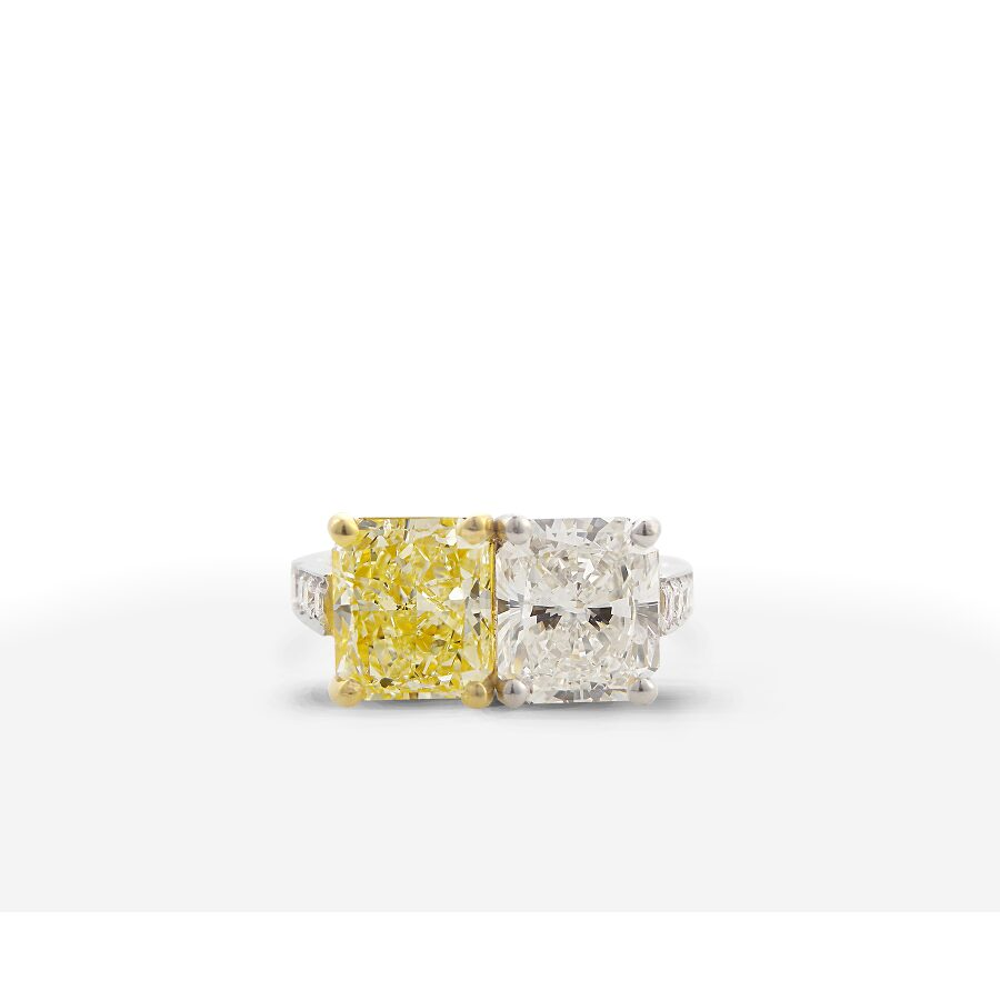 Beautiful Classy Twin Radiant Yellow and White Diamond Ring 5.03 CT