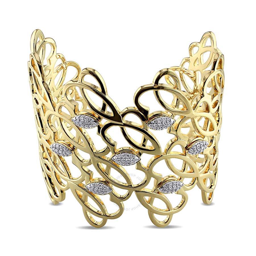 Beauty JB  3/4 CT Diamond TW Bangle Yellow Silver GH SI 18KY Micron Plated