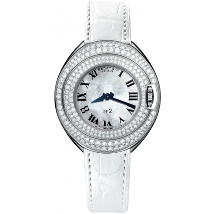 Bedat No 2 Mother of Pearl Dial White Leather Diamond Unisex Watch 228.050.900