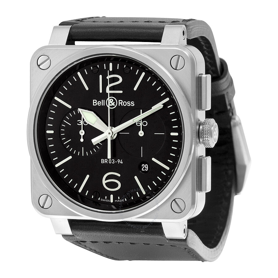 Bell and Ross Aviation Automatic Black Dial Black Leather Mens Watch BR0394-BL-SI/SCA