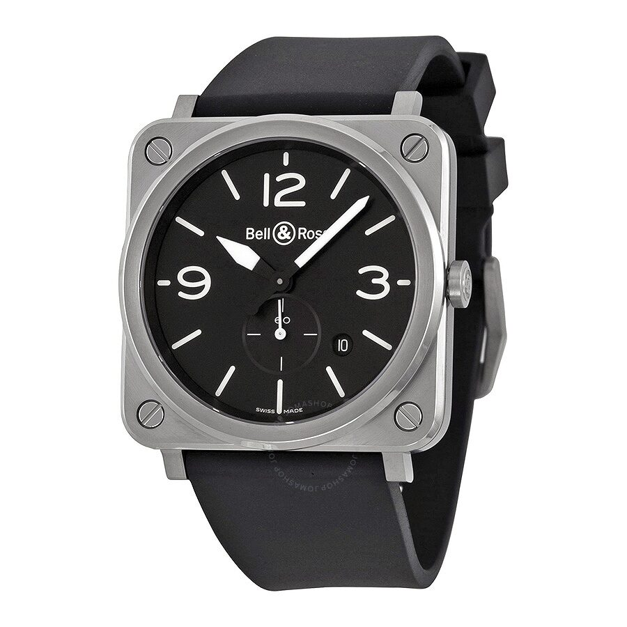 Bell and Ross Aviation Black Dial Black Rubber Strap Mens Watch BLRBRS-BLC-ST