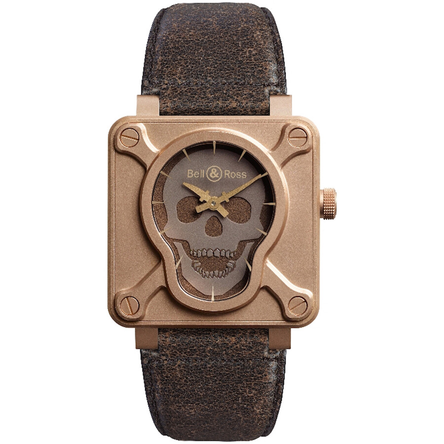 Bell and Ross Aviation Skull Bronze Leather Automatic Mens Watch BR0192-SKULL-BR