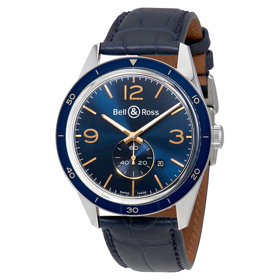 Bell and Ross Vintage Automatic Blue Dial Mens Watch BRV123-BLU-ST-SCR