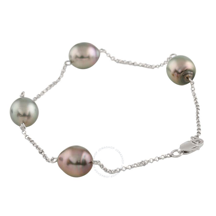 Bella Pearl 10K White Gold Baroque Floating Tahitian Pearl Bracelet