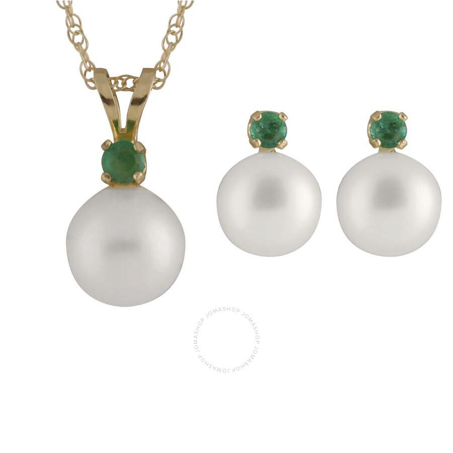 Bella Pearl 14K Gold Sliding Freshwater Pearl and Emerald Pendant and Earrin..