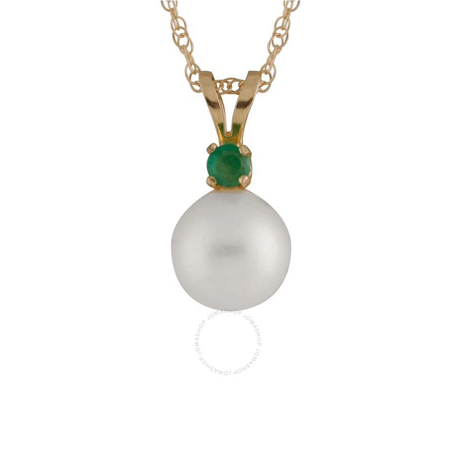 Bella Pearl 14K Gold Sliding Freshwater Pearl and Emerald Pendant