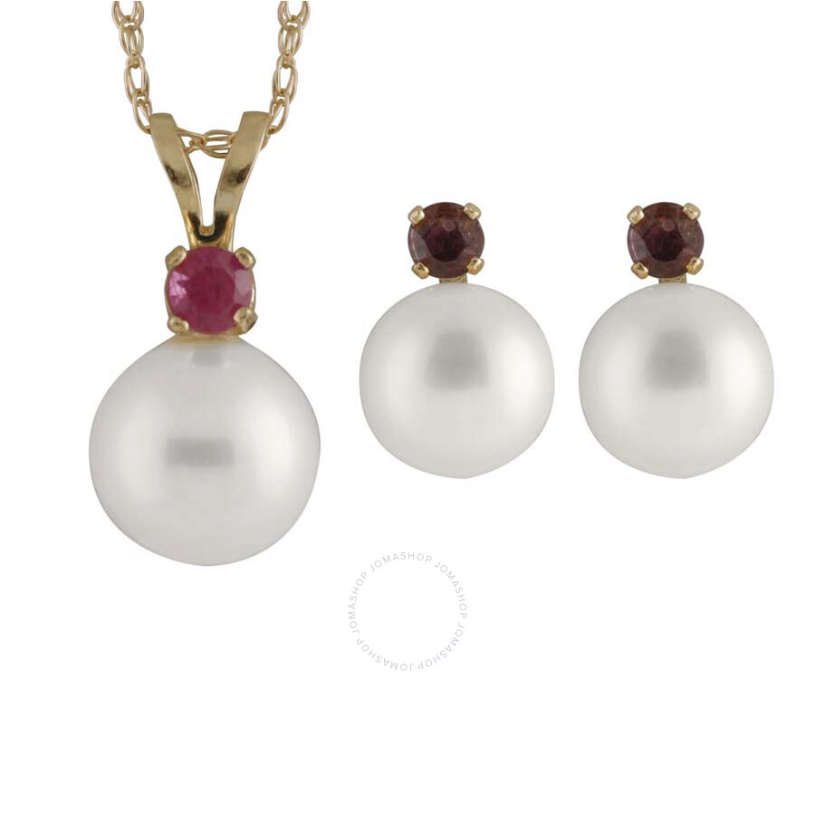 Bella Pearl 14K Gold Sliding Freshwater Pearl and Ruby Pendant and Earring Set