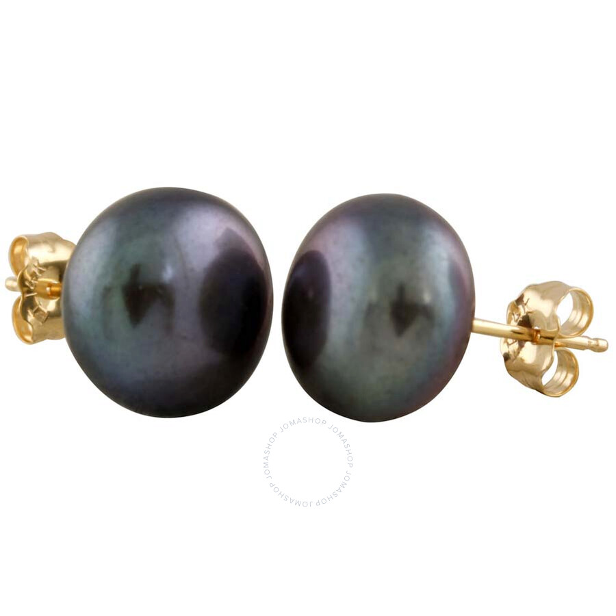 Bella Pearl Black Freshwater Pearl Stud Earrings BW-10B
