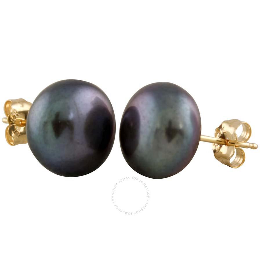 Bella Pearl Black Freshwater Pearl Stud Earrings BW-11B