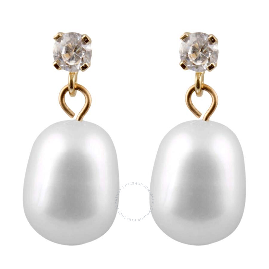 Bella Pearl Cubic Zirconia Pearl Dangling Stud Earrings HOF-24
