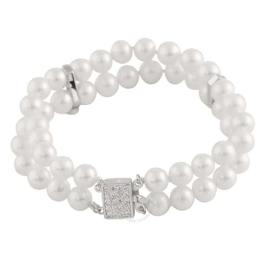 Bella Pearl Double Strand White Pearl Bracelet BSR-50W