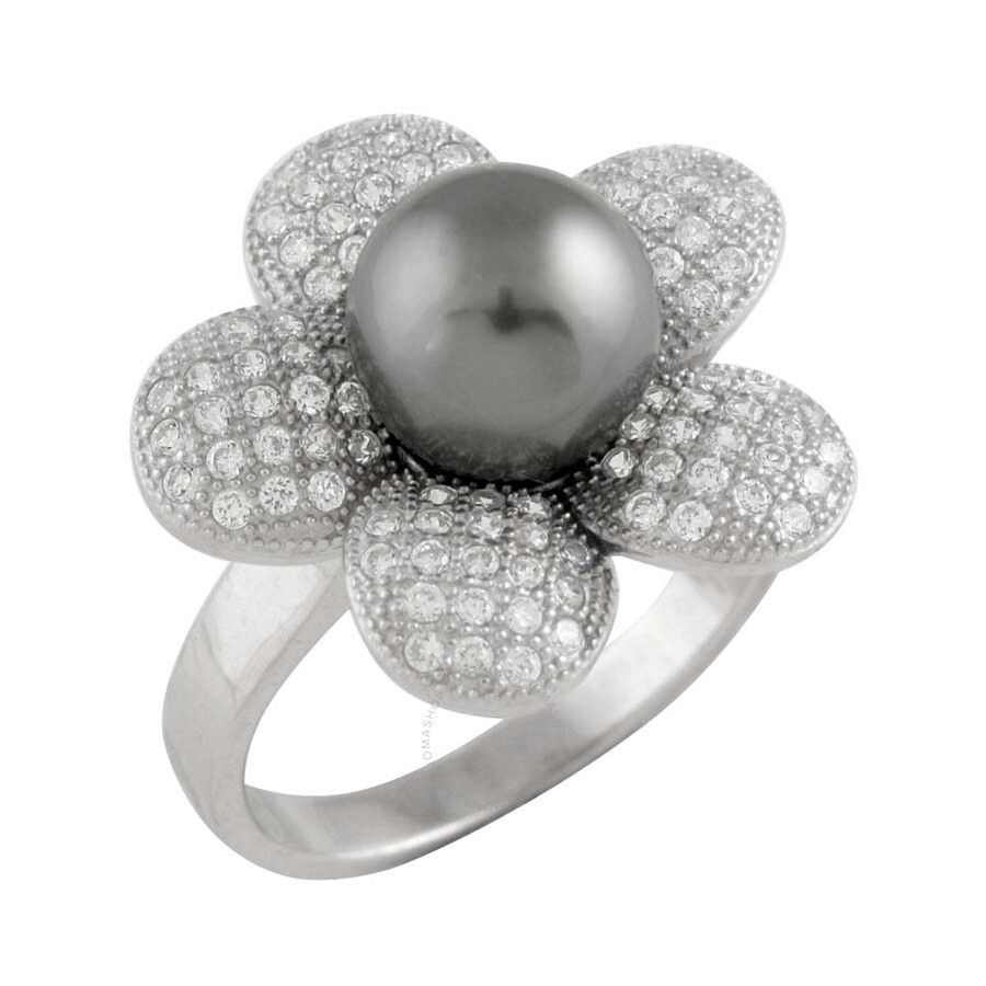 Bella Pearl Rhodium-Plated Sterling Silver Floral Tahitian Pearl Ring - Size 8