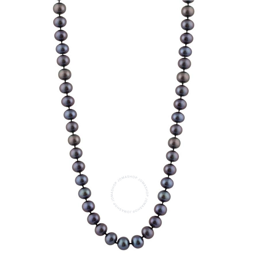 Bella Pearl Single Strand Black Freshwater Pearl 16 Necklace FWR6-16B