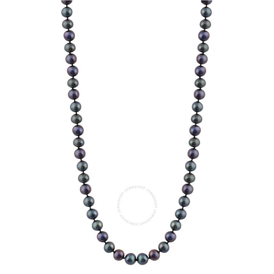 Bella Pearl Single Strand Black Freshwater Pearl 24 Necklace FWR5-24B