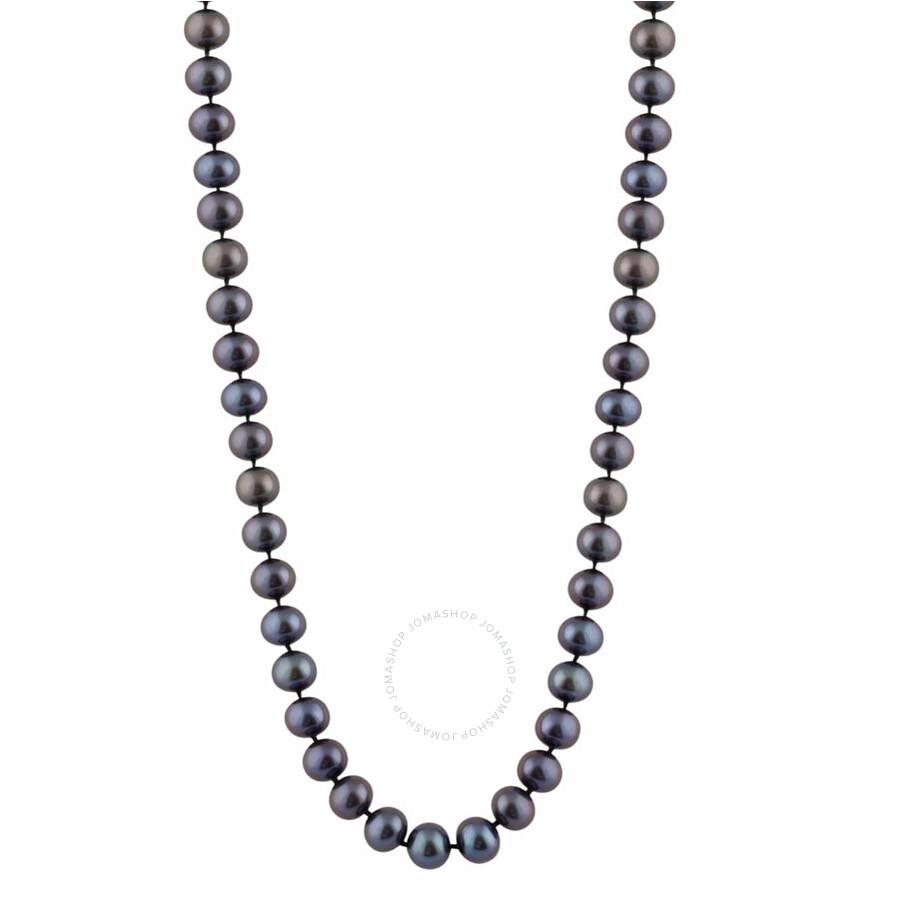 Bella Pearl Single Strand Black Freshwater Pearl 24 Necklace FWR8-24B