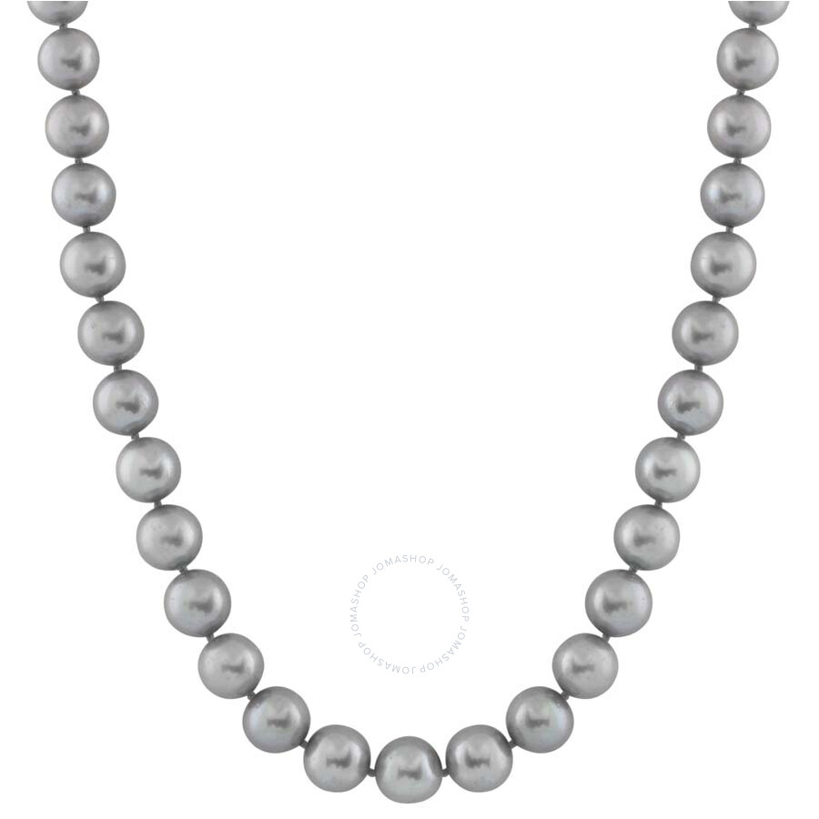 Bella Pearl Single Strand Gray Freshwater Pearl 24 Necklace FWR8-24G