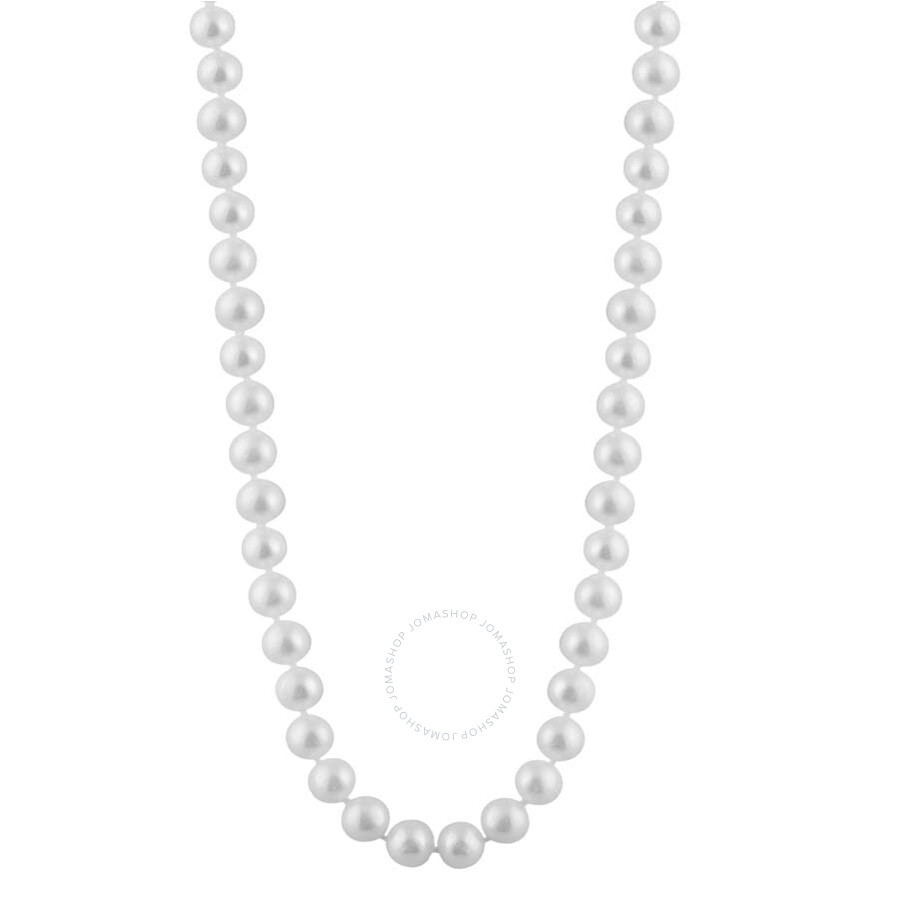 Bella Pearl Single Strand White Freshwater Pearl 24 Necklace FWR8-24W