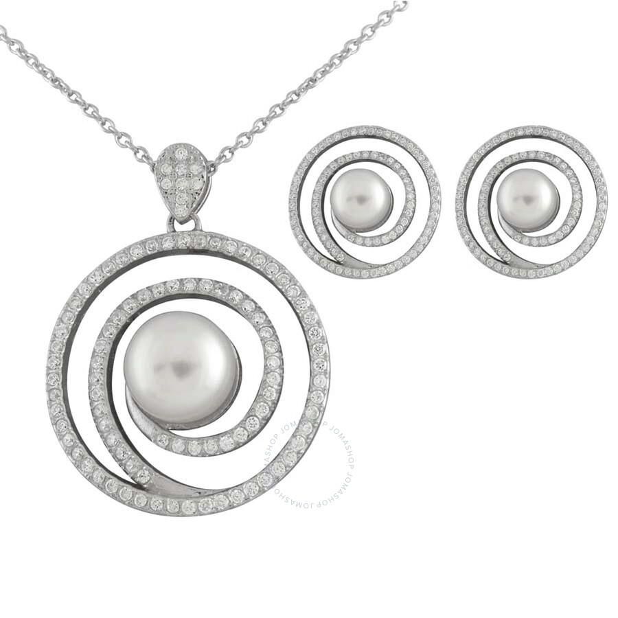 Bella Pearl Spiral Pendant and Earring Set