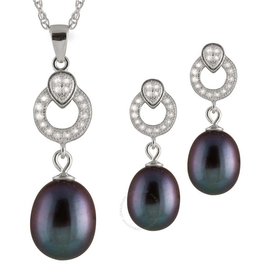 Bella Pearl Sterling Silver Black Pearl Pendant and Earring Set NESR-128B