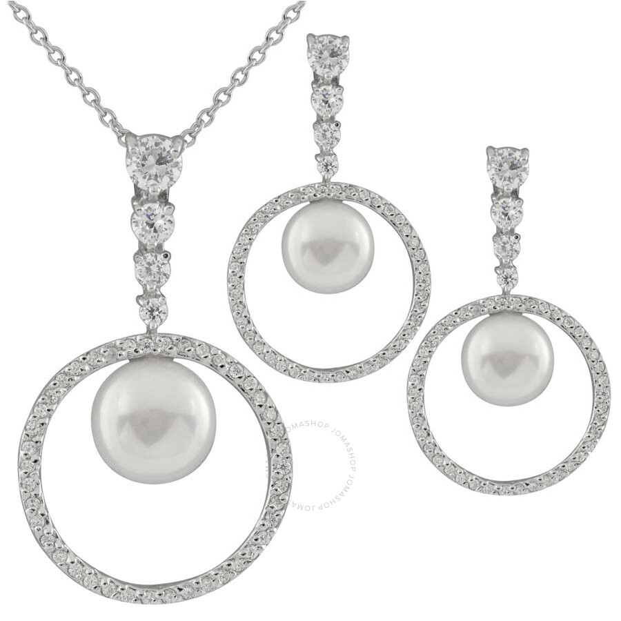 Bella Pearl Sterling Silver Circle Pendant and Earring Set NESR-173