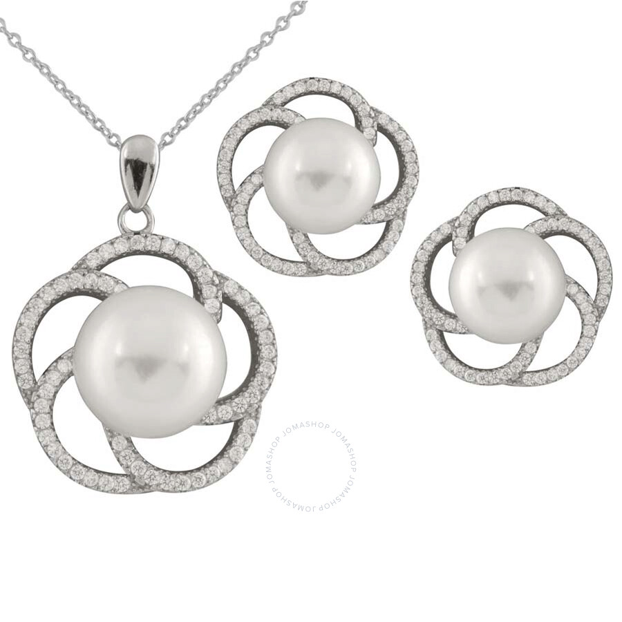 Bella Pearl Sterling Silver Floral Lattice Necklace and Earring Set