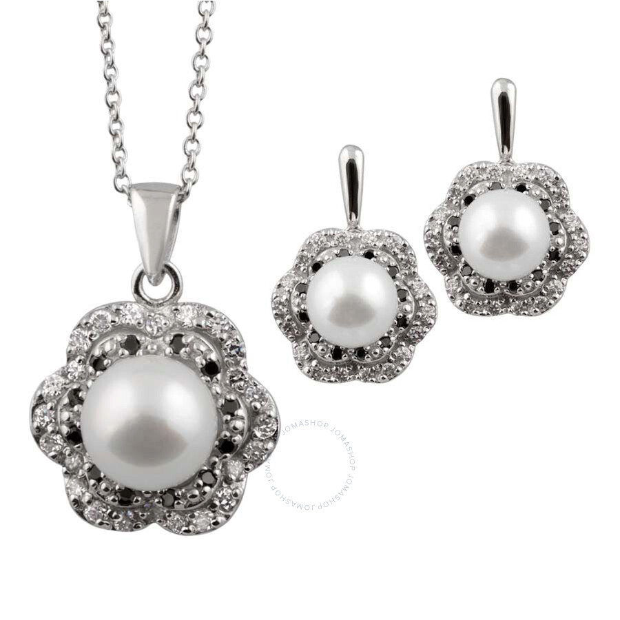 Bella Pearl Sterling Silver Floral Pendant and Earring Set
