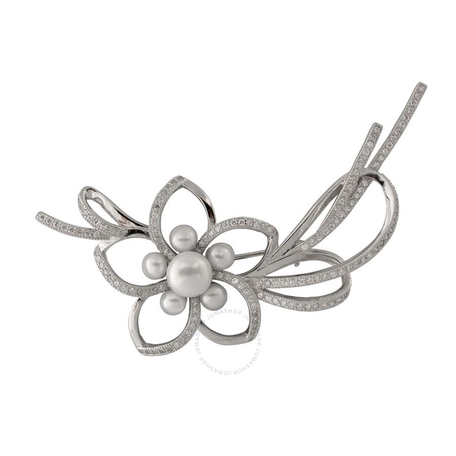 Bella Pearl Sterling Silver Flower and Ribbon Brooch
