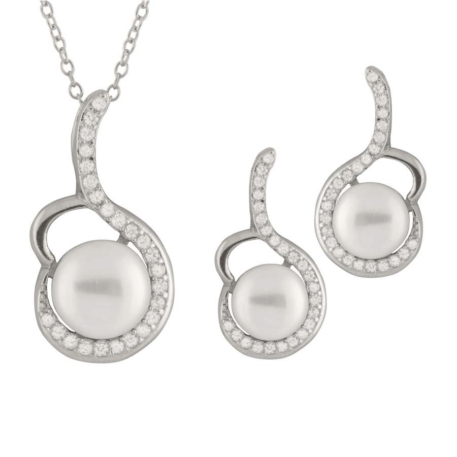 Bella Pearl Sterling Silver Freshwater Pearl Earring and Necklace Set NESR-122