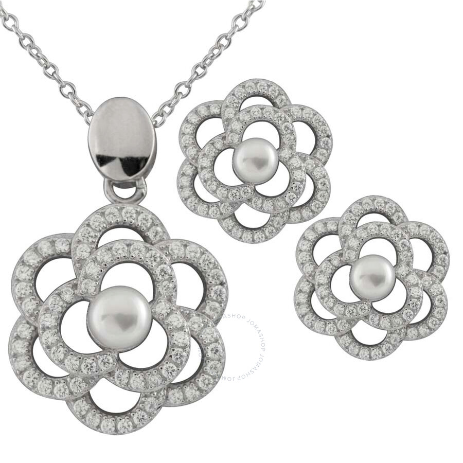 Bella Pearl Sterling Silver Lattice Necklace and Earring Set
