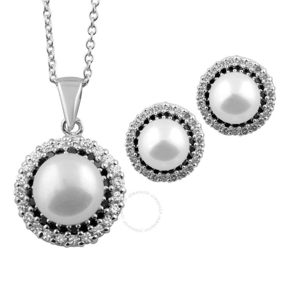 Bella Pearl Sterling Silver Necklace and Earring Set