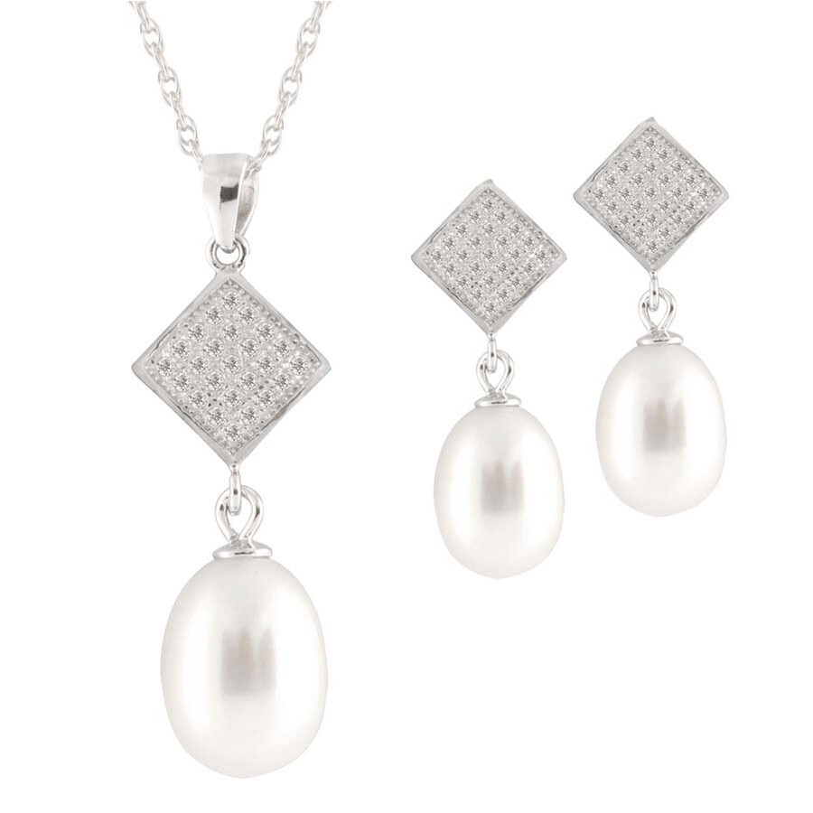 Bella Pearl Sterling Silver Pearl Necklace and Earring Set NESR-127