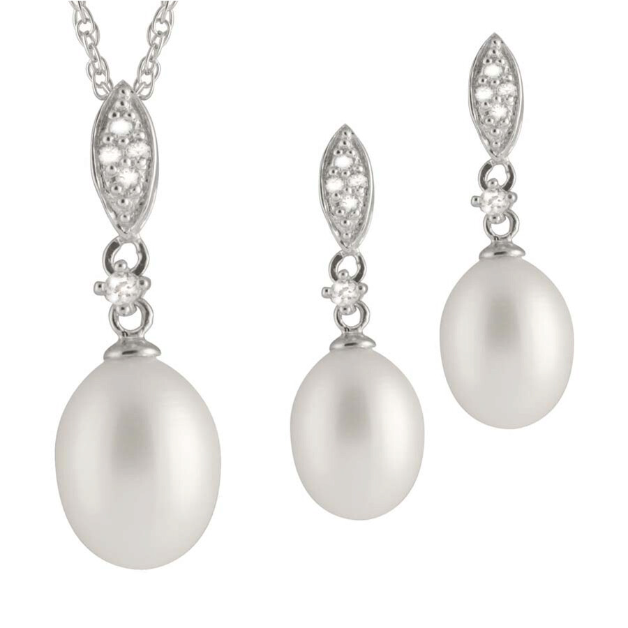 Bella Pearl Sterling Silver Pearl Pendant and Earring Set NESR-129