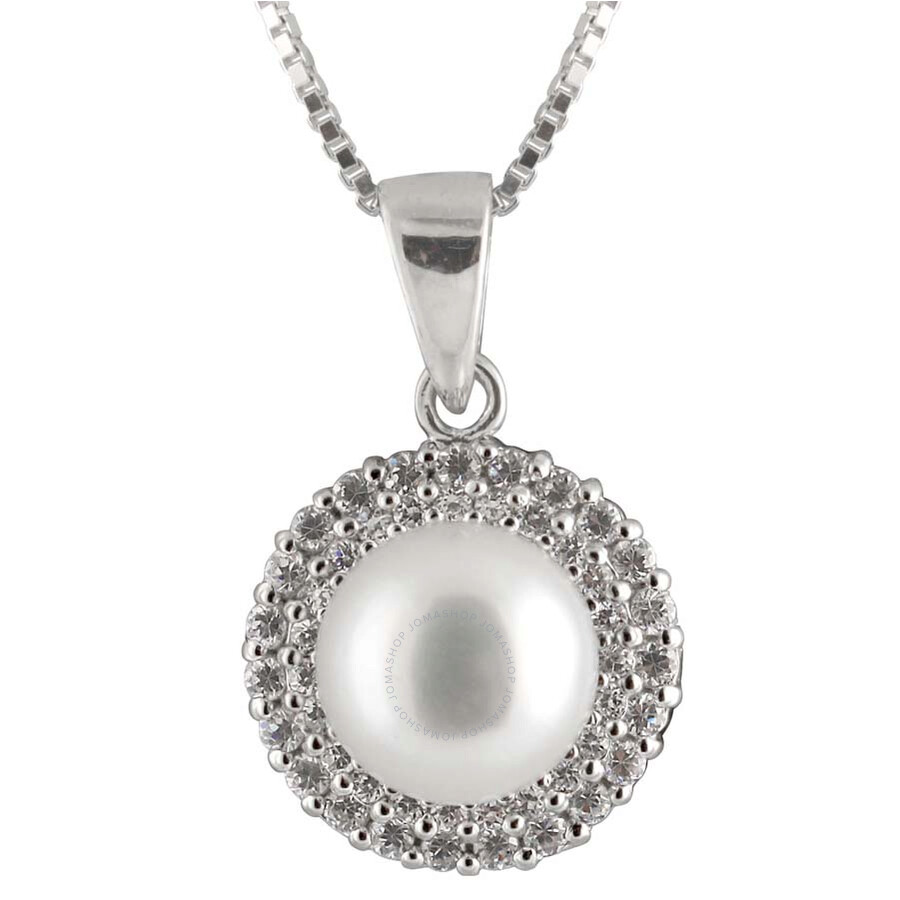 Bella Pearl Sterling Silver Pearl Pendant Necklace and Earring Set