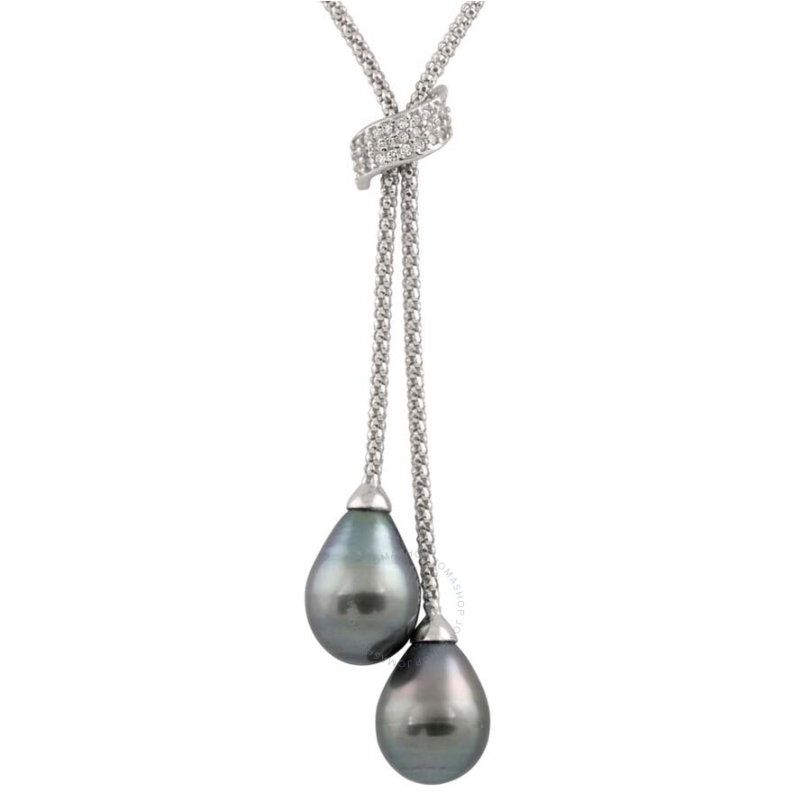 Bella Pearl Sterling Silver Tahitian Pearl Lariat Necklace