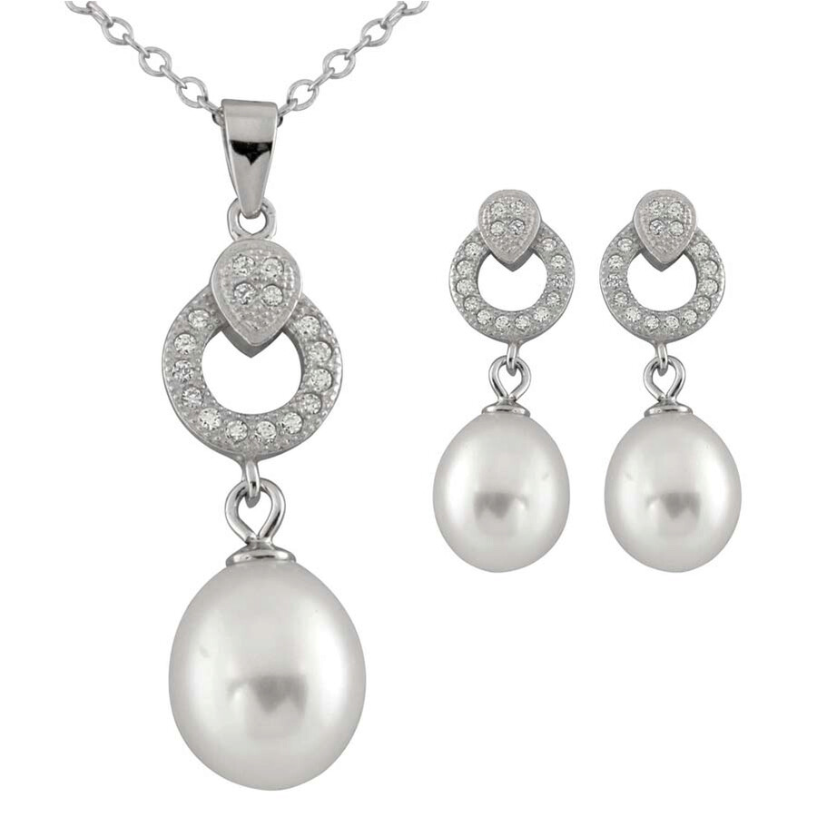 Bella Pearl Sterling Silver White Pearl Pendant and Earring Set NESR-128W