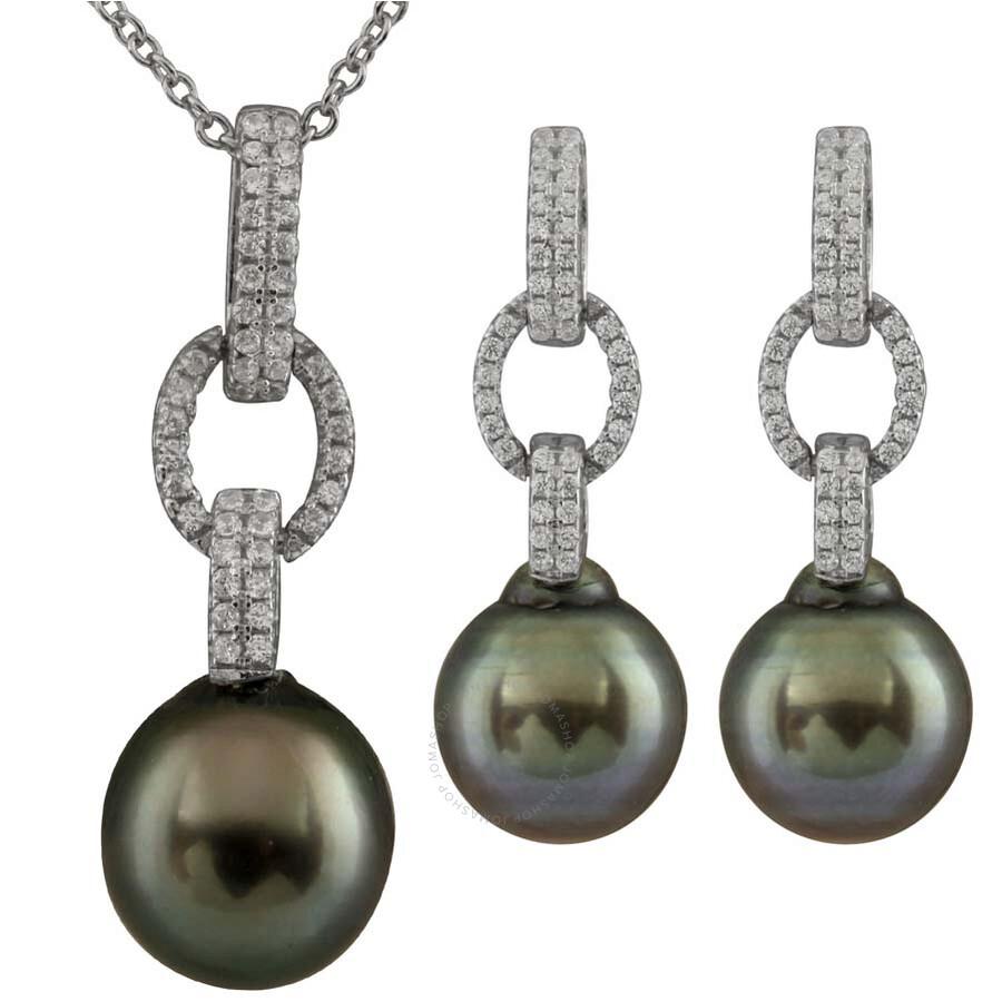 Bella Pearl Tahitian Pearl Earrings and Necklace Set