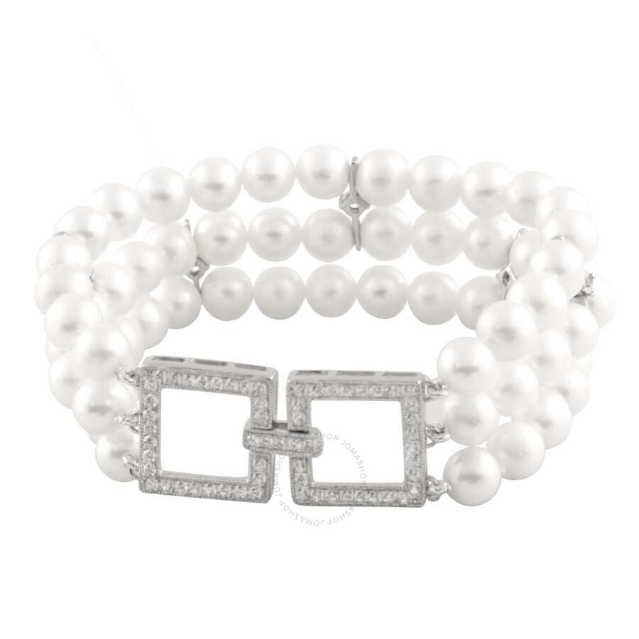 Bella Pearl Triple Row White Freshwater Pearl Bracelet