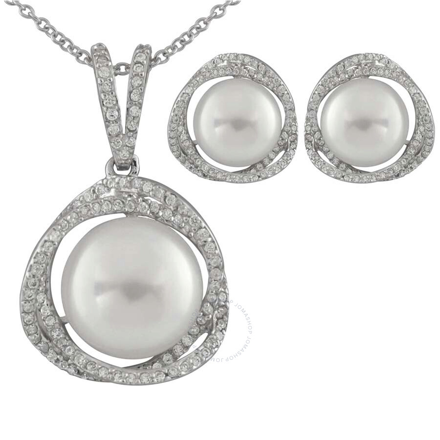 Bella Pearl White Button Pearl Earrings and Necklace Set
