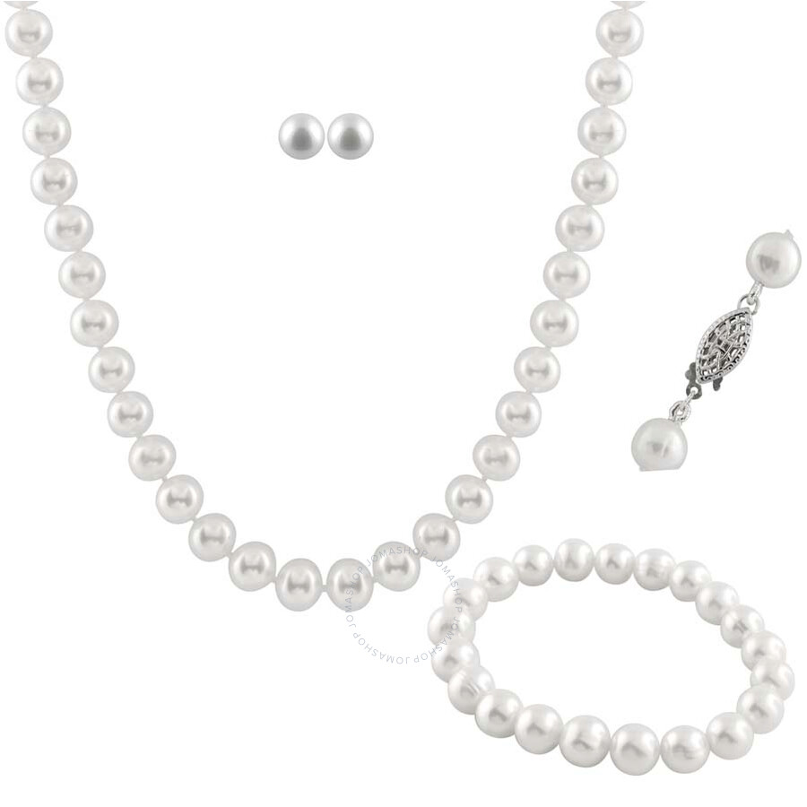 Bella Pearl White Freshwater Pearl Jewelry Set FGS-42