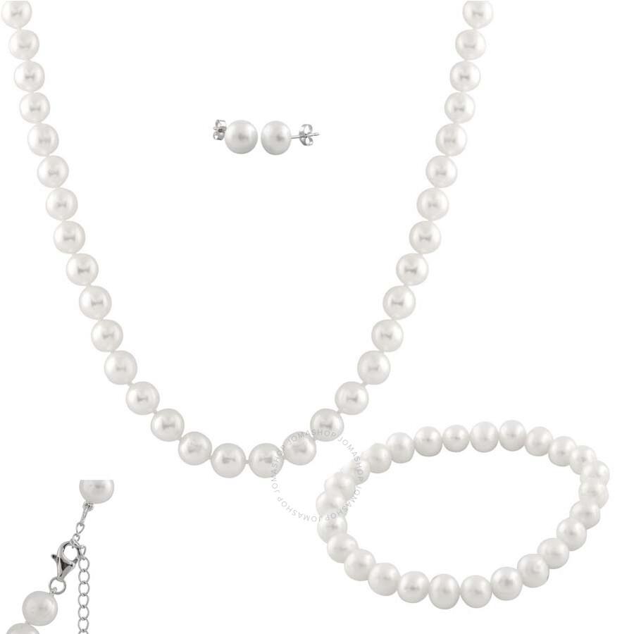 Bella Pearl White Freshwater Pearl Jewelry Set FGS-48