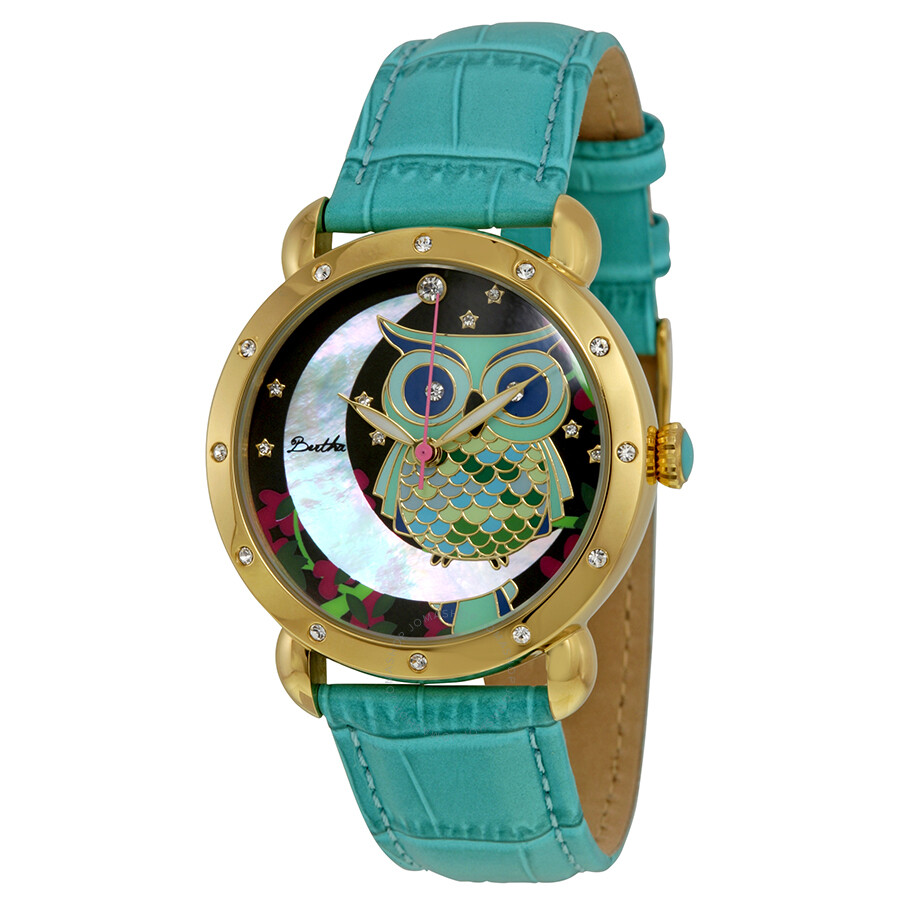 Bertha Ashley Owl and Moon Mother of Pearl Dial Turquoise Leather Ladies Watch BR3003