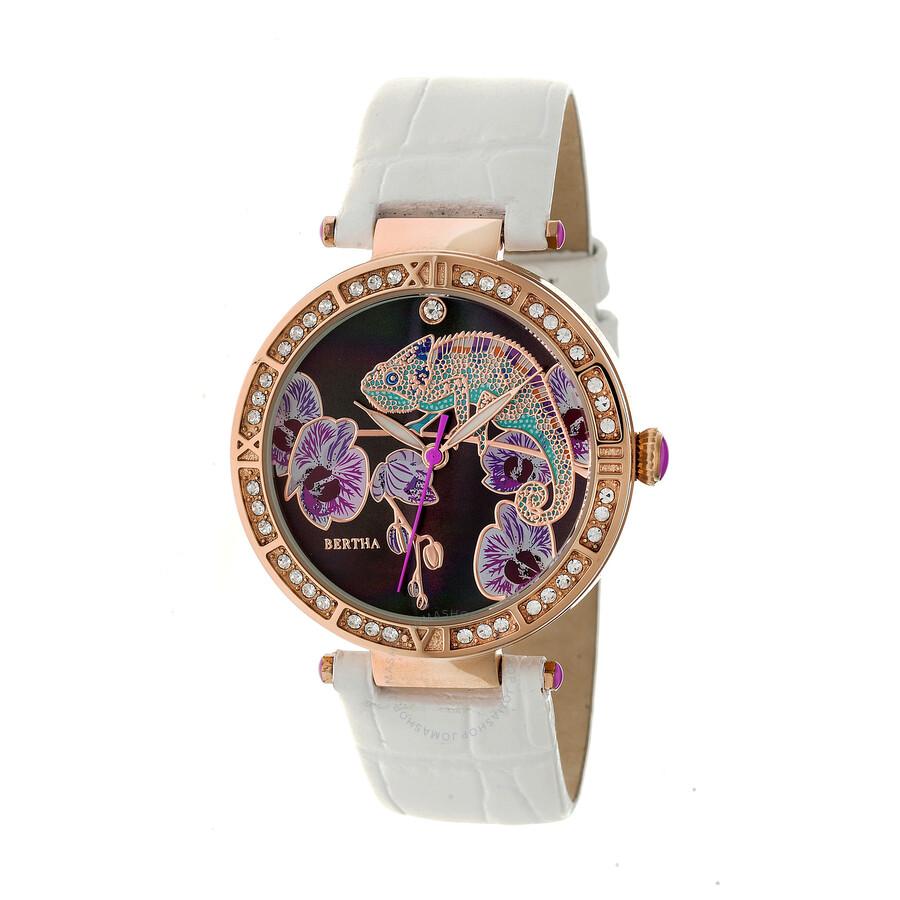 Bertha Camilla Crystal Black Dial Ladies Watch BR6207