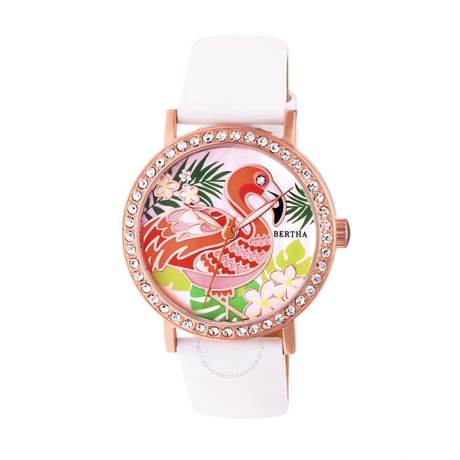 Bertha Luna Crystal Engraved Mother of Pearl Dial Ladies Watch BR7705