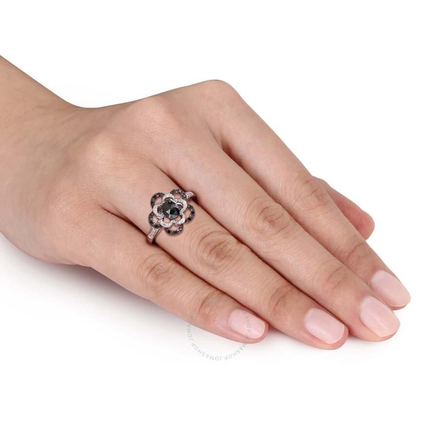 Black White Oval Diamond Flower Ring In 10k White Gold With Black