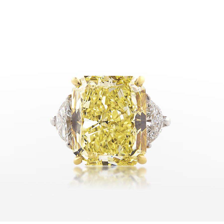 Bold Beautiful Yellow Radiant Diamond Ring  8.70 CT
