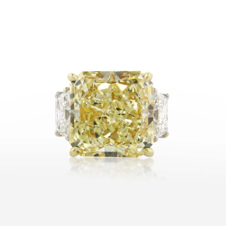 Bold Stunning Yellow Radiant Diamond Ring 14.18 CT