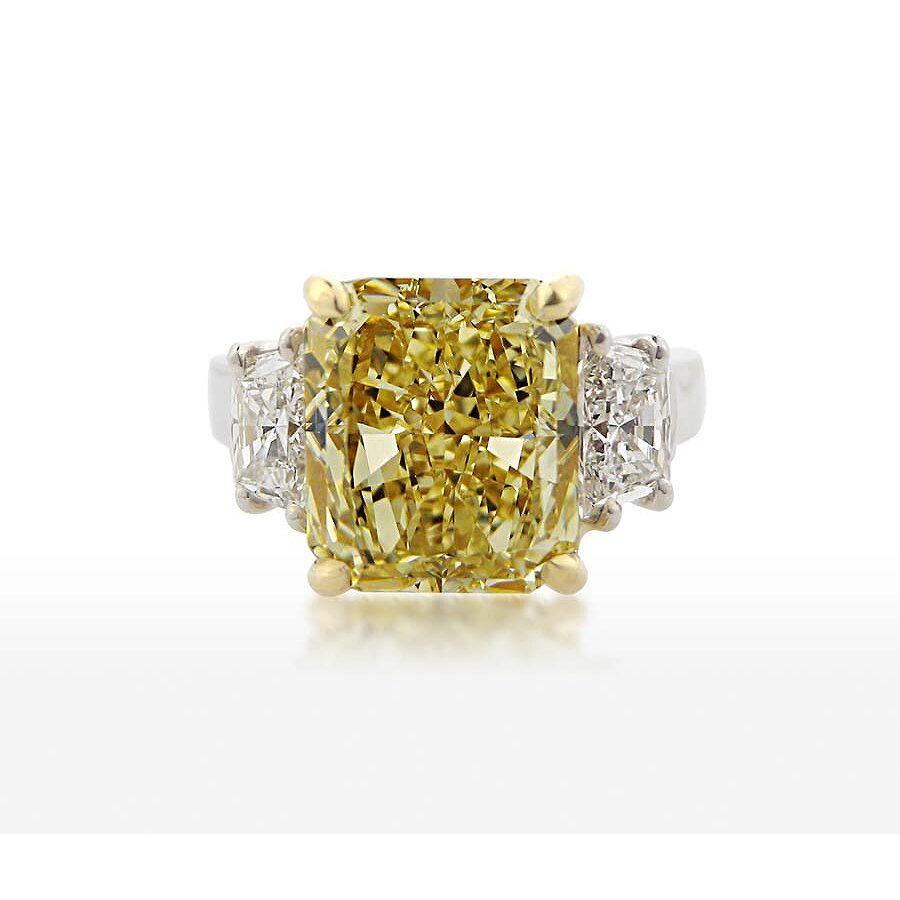 Bold Stunning Yellow Radiant Diamond Ring 5.11 CT