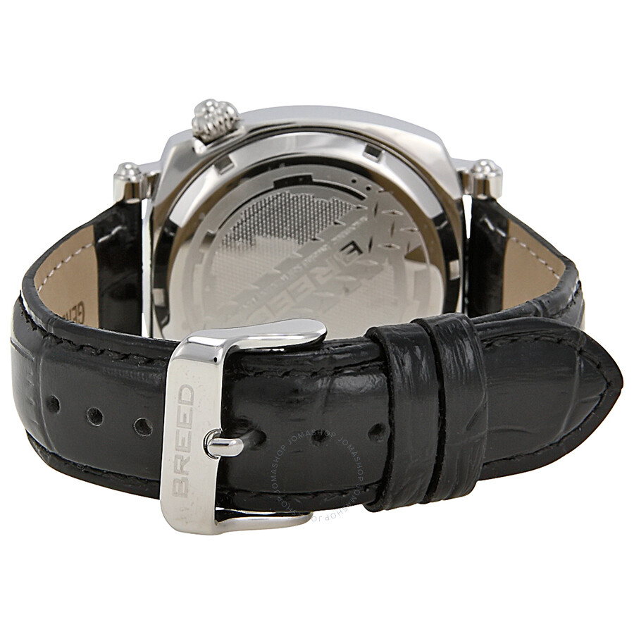 Breed benny white dial black leather strap men 39 s watch 0701 breed watches jomashop for Black leather strap men